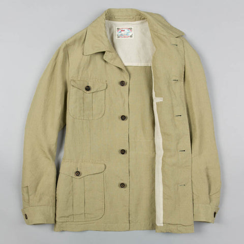 LINEN SAFARI JACKET TROPICAL OLIVE