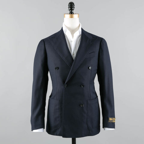 LORO PIANA HOPSACK WOOL DB SPORT COAT MIDNIGHT