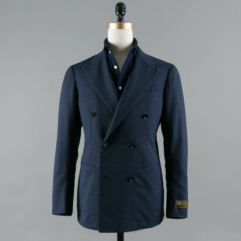 LORO PIANA WOOL DB SUIT NAVY GLEN CHECK