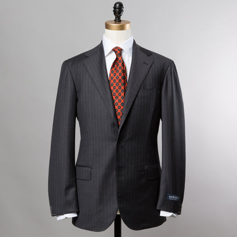TRABALDO TOGNA WOOL SUIT GREY ROPE STRIPE