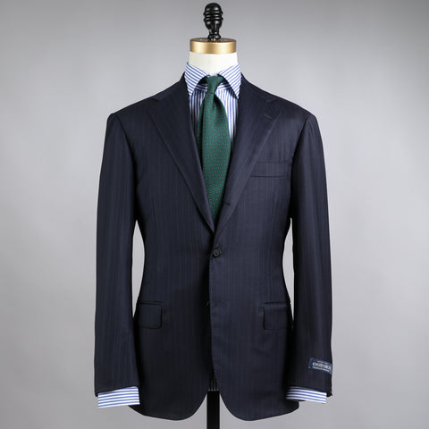 TRABALDO TOGNA WOOL SUIT NAVY ROPE STRIPE