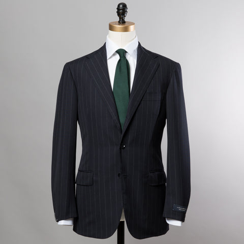 TRAVELLER WOOL SUIT NAVY CHALK STRIPE