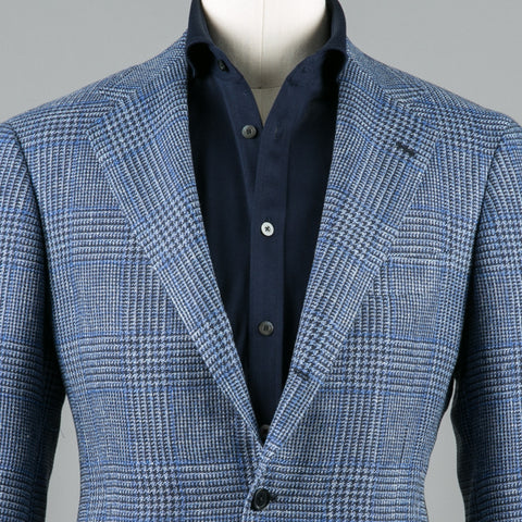 VBC LINEN/SILK/COTTON SPORT COAT NAVY PLAID