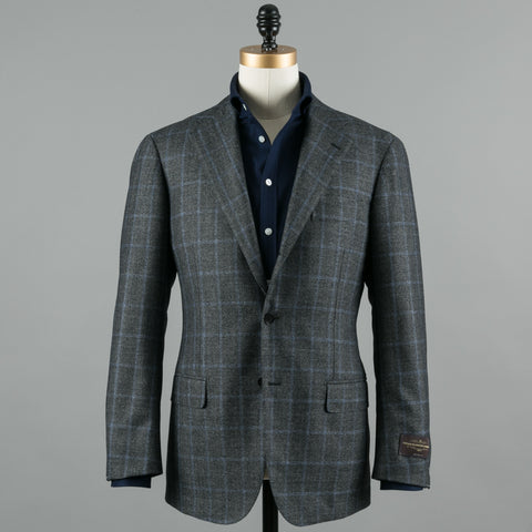 VBC WOOL FLANNEL SUIT GREY GLEN CHECK