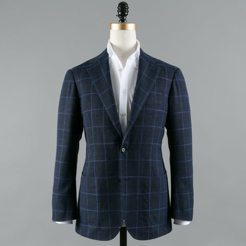 VBC WOOL/SILK/LINEN SPORT COAT NAVY WINDOWPANE