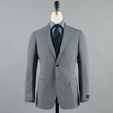 WOOL/MOHAIR/SILK 184 SUIT GREY STRIPE