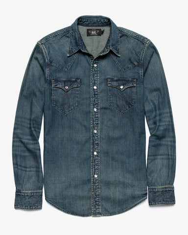 BUFFALO DENIM WESTERN SHIRT DARK WASH