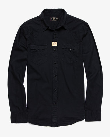 BUFFALO TWILL WESTERN SHIRT POLO BLACK