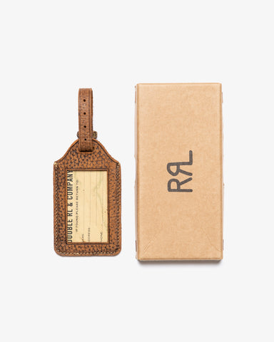 PEBBLED LEATHER LUGGAGE TAG BRADFORD BROWN