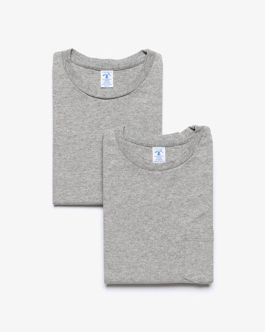 CREW NECK POCKET T-SHIRT HEATHER GRAY 2-PAC