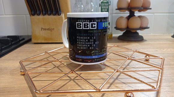 Newcastle 5-0 Manchester Red Ceefax Mug