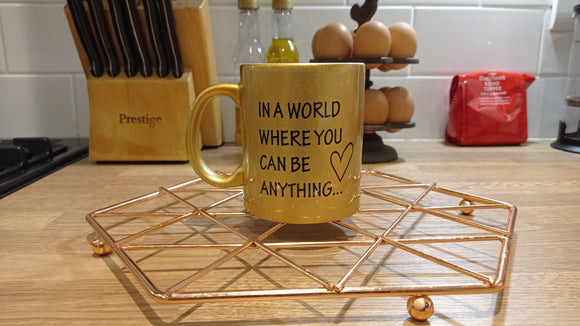 Be Kind Glitter Gold Mug