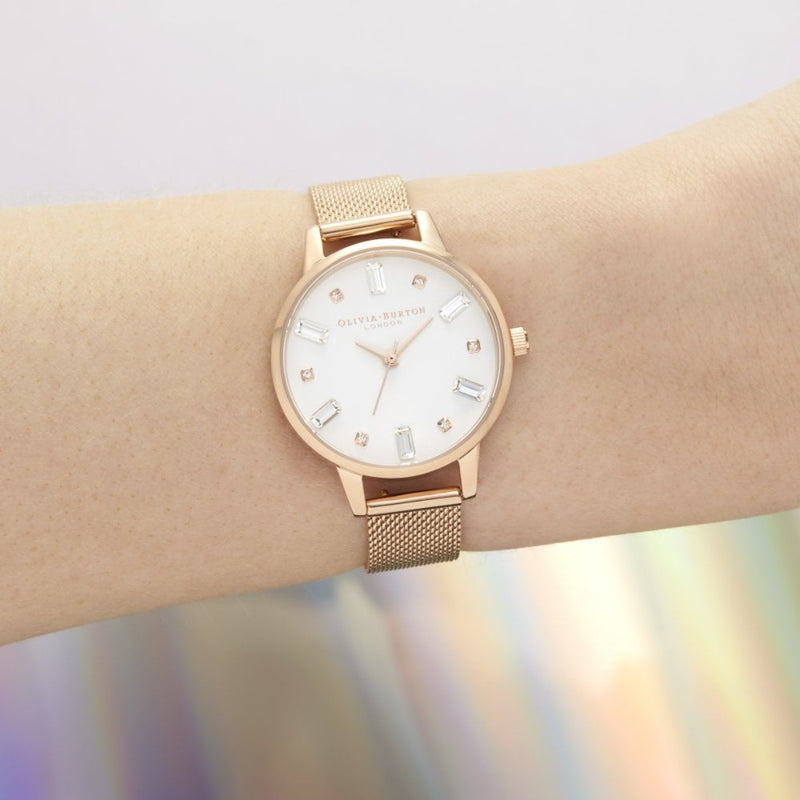 Bejewelled Rose Mesh Watch