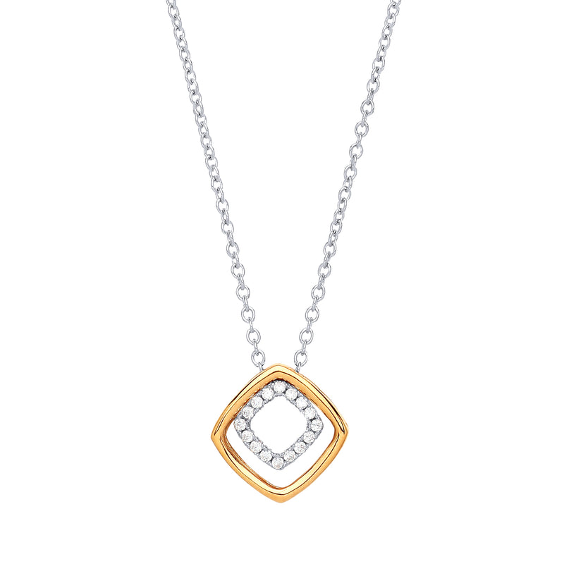 Square Sparkle Two Tone Necklace