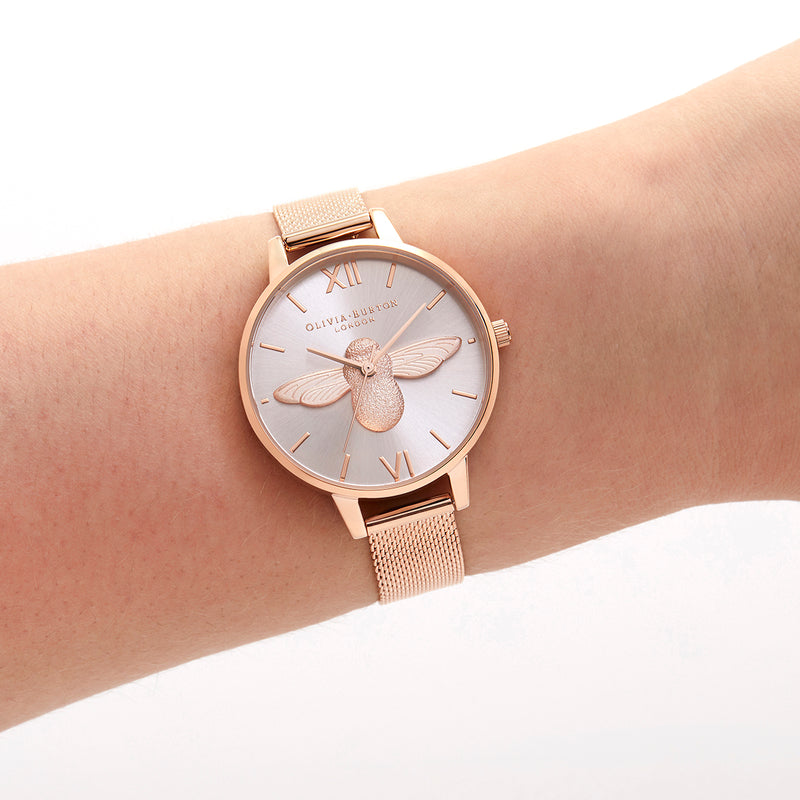 Lucky Bee Rose Gold And Metal Mesh