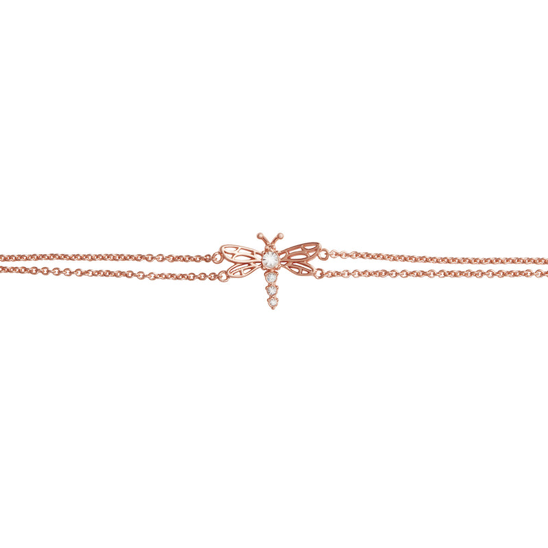 Dancing Dragonfly Chain Bracelet Rose Gold
