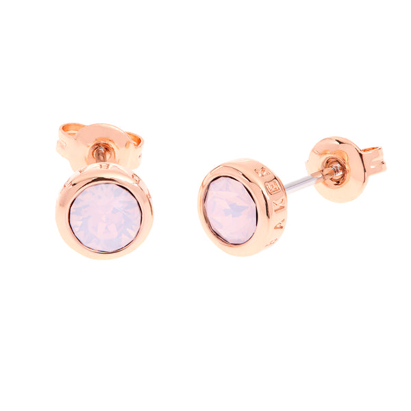 Sinaa: Plain Crystal Earring Rose Gold/rose Water Opal