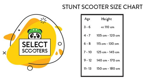 Sizing char for age and heights select scooters