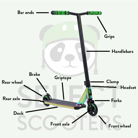 Diagram of stunt scooter parts | Select Scooters