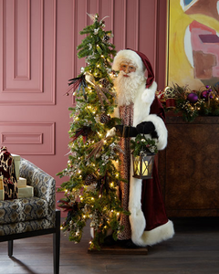 Plum Wine Holiday Santa with Lighted Christmas Tree