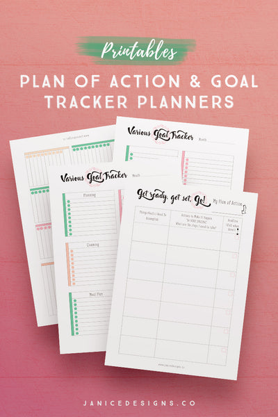 Plan of Action and Goal Tracker Planner Printables