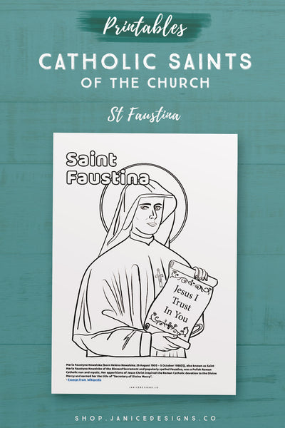 CS: Saint Faustina Coloring Page