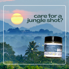 jungle background with glass jar of powder reading materre jungle label, with the words care for a jungle shot on top
