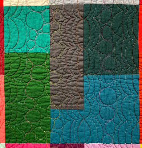 COlored Happy Quilt Block Teal Green