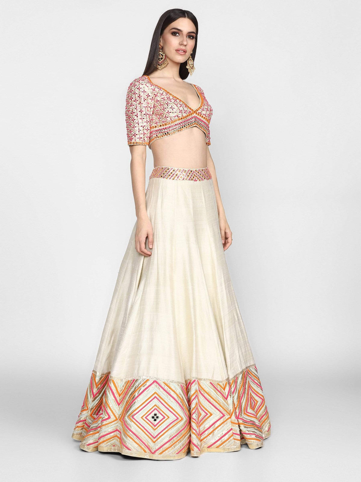 Abhinav Mishra Light Lehengas Multicolored hand emb lehenga