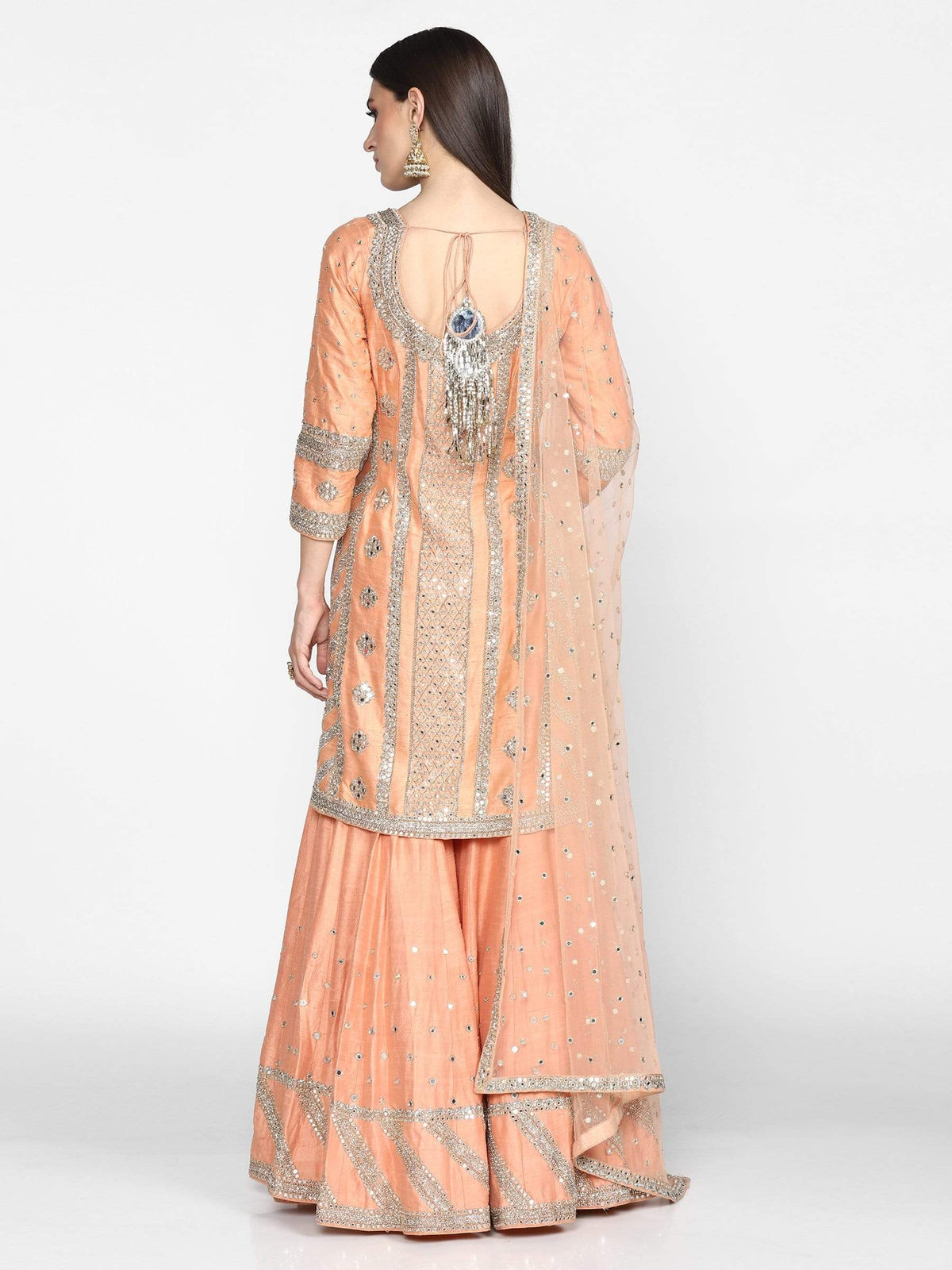 Abhinav Mishra Shararas Peach embroidered sharara set