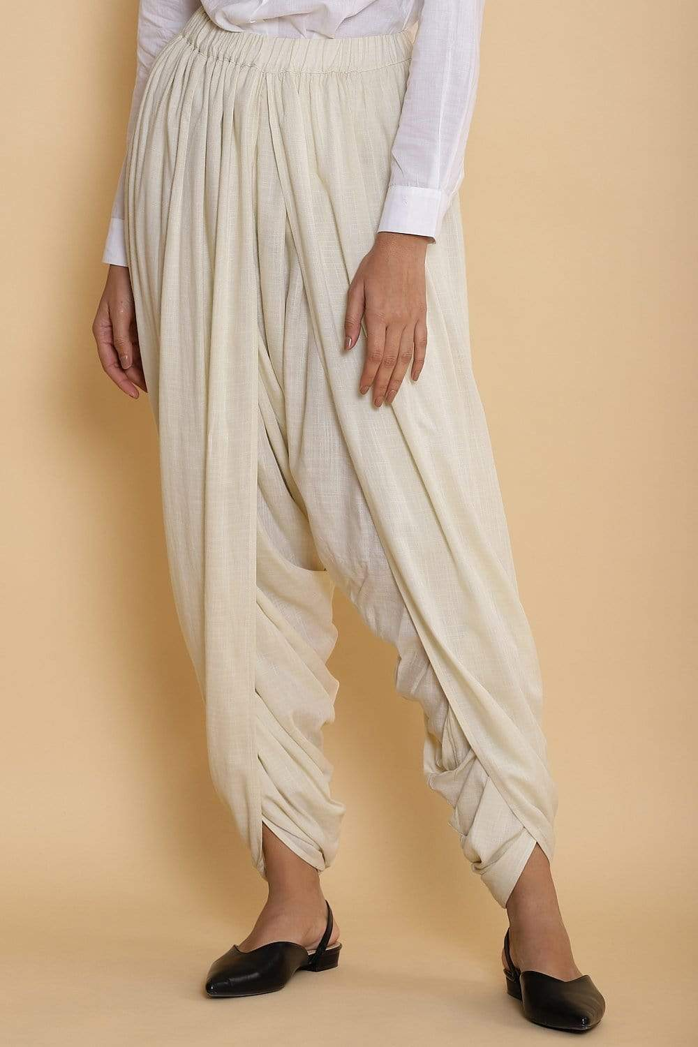Abraham & Thakore Bottoms Ivory solid dhoti pants