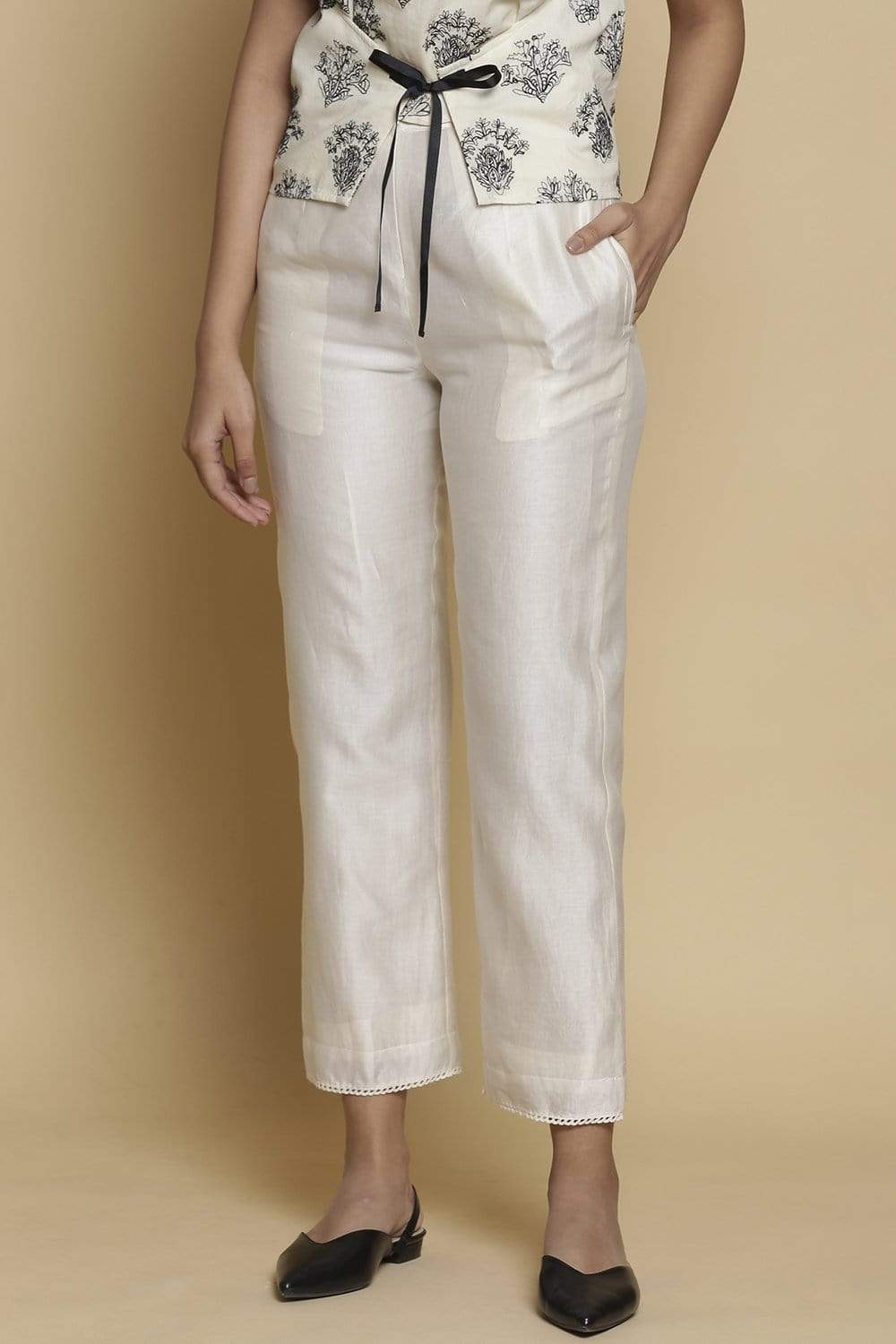 Abraham & Thakore Bottoms Kora chanderi silk straight pants