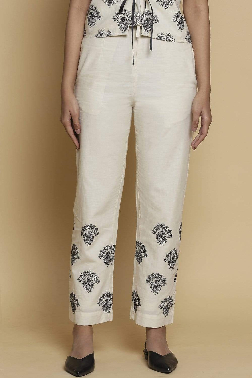 Abraham & Thakore Bottoms Straight pants with buta embroidery