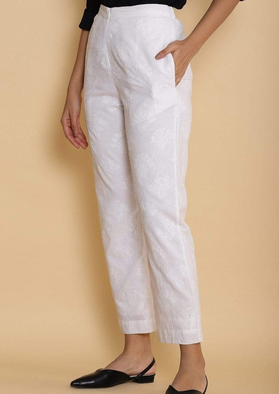 Abraham & Thakore Bottoms Tonal embroidered straight pants