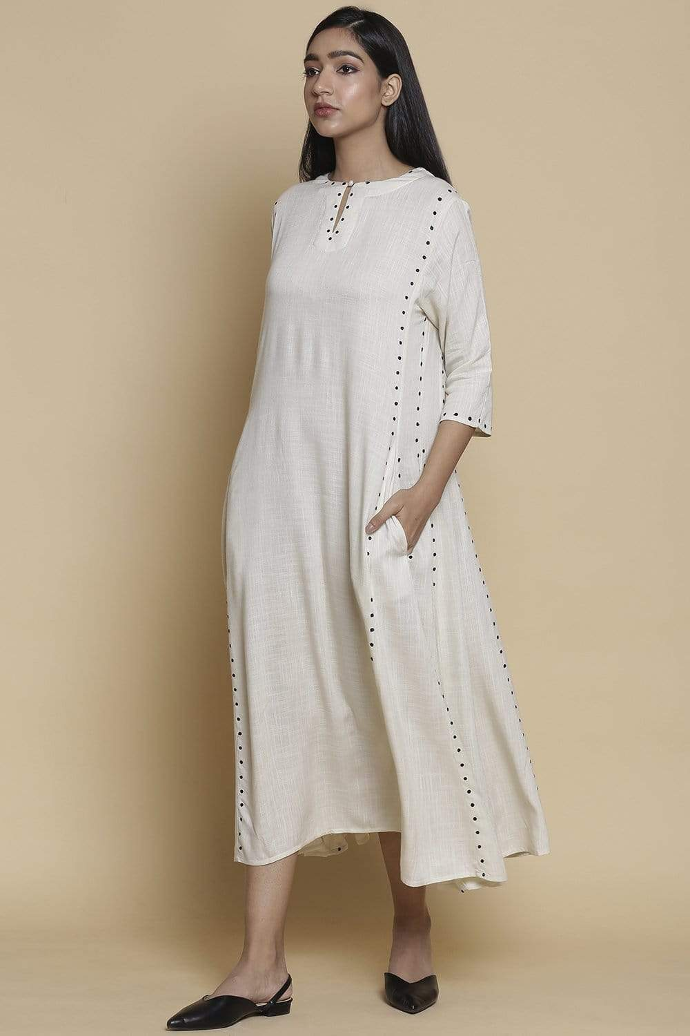 Abraham & Thakore Dresses Ivory long kali dress with all over embroidery