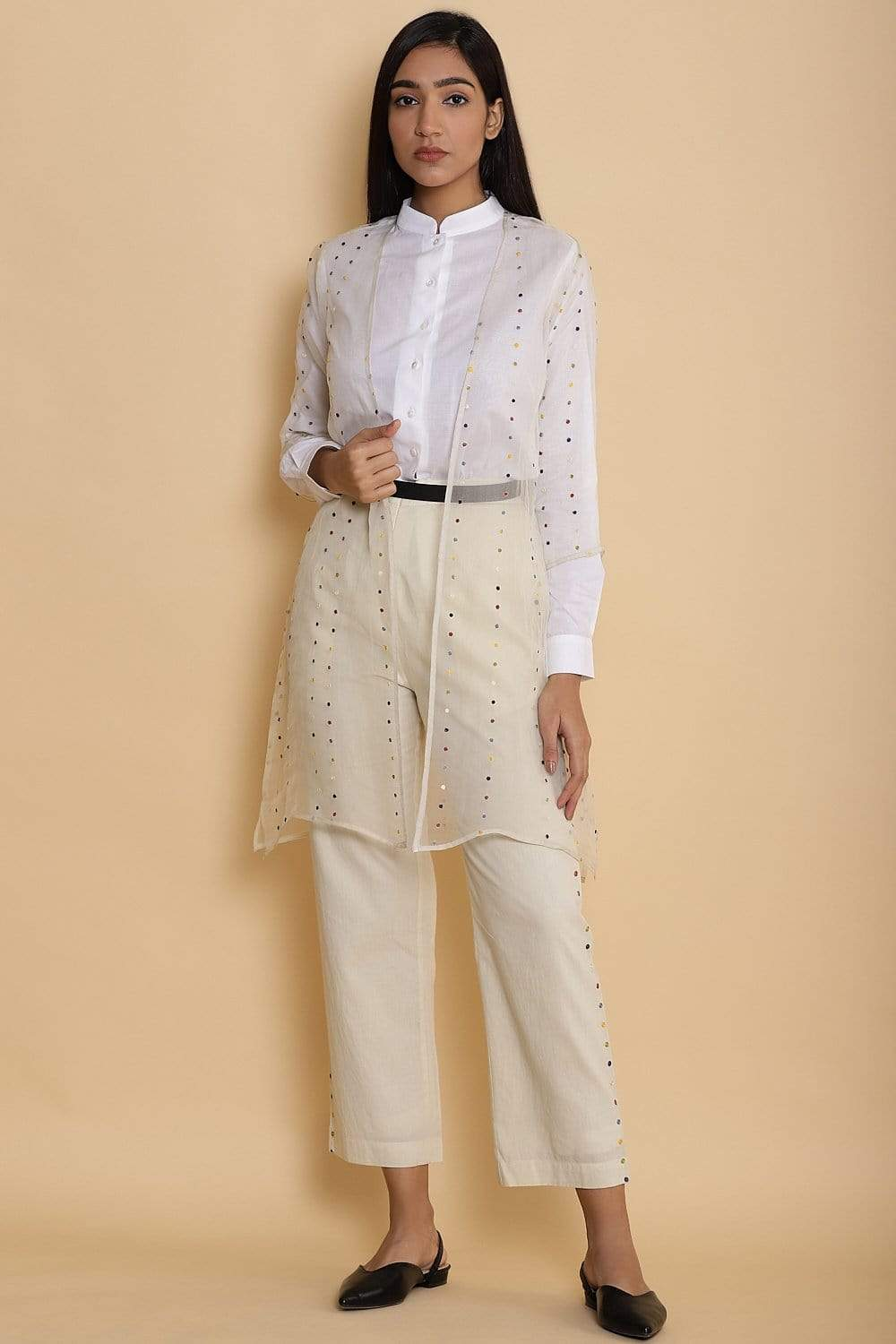 Abraham & Thakore Jackets Organza jacket with dot embroiidery