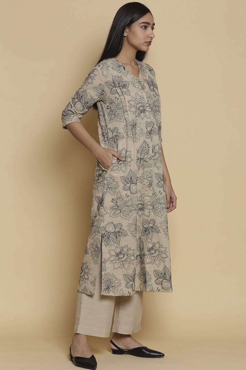 Abraham & Thakore Kurtas Long shirt kurta with buta embroidery