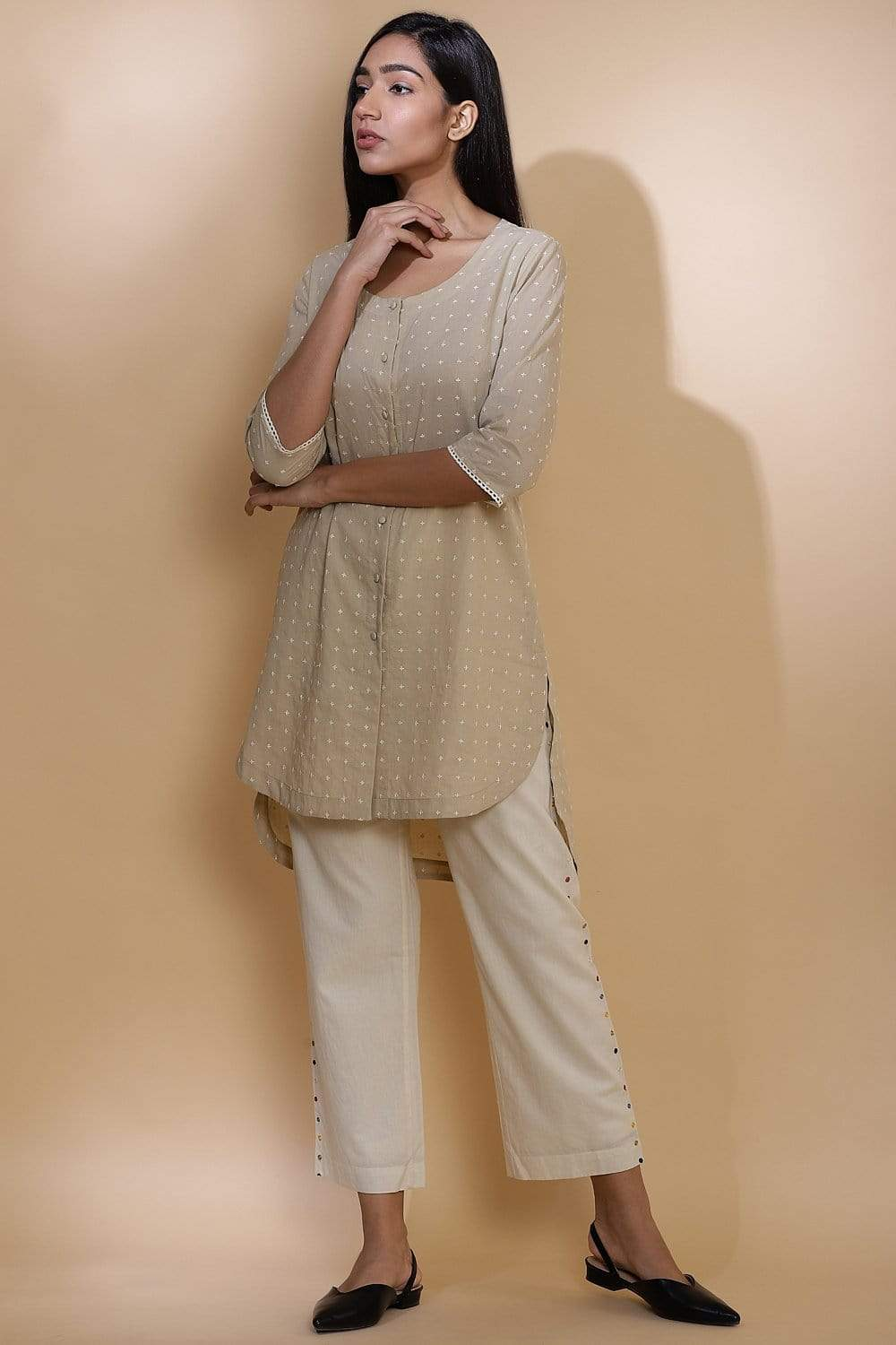 Abraham & Thakore Shirts & Tops Sauf tara shirt with embroidery