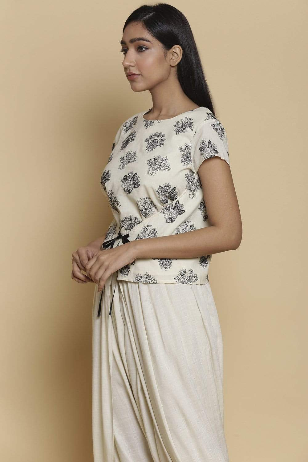 Abraham & Thakore Shirts & Tops Wrap top with buta embroidery