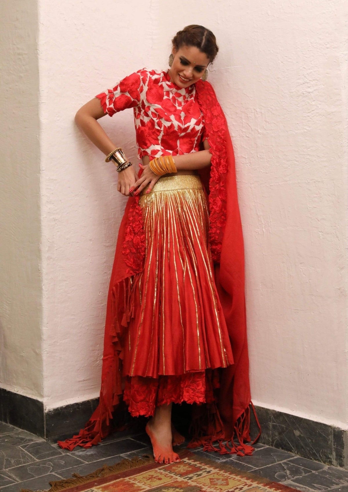 Aikeyah Light Lehengas Red ankle length chanderi lehenga