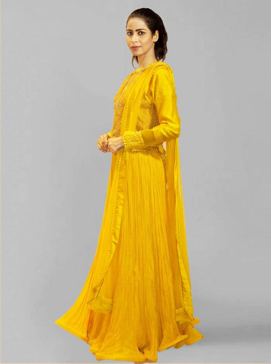 Aksh Shararas Yellow sharara set