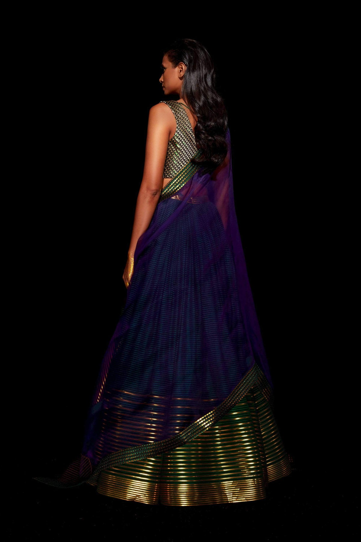 Amit Aggarwal Light Lehengas Metallic striped lehenga
