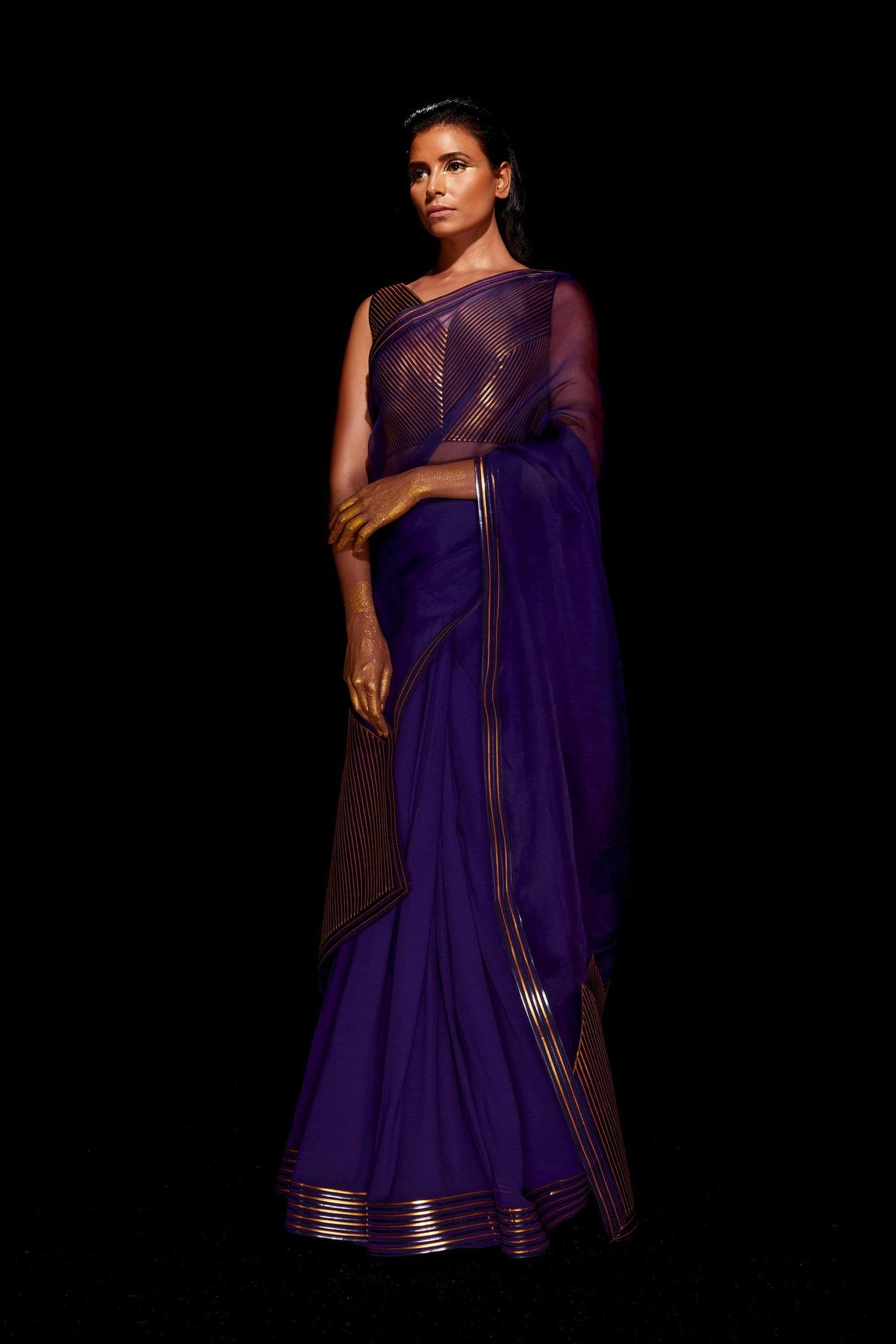 Amit Aggarwal Sarees Temple border metallic saree in blue