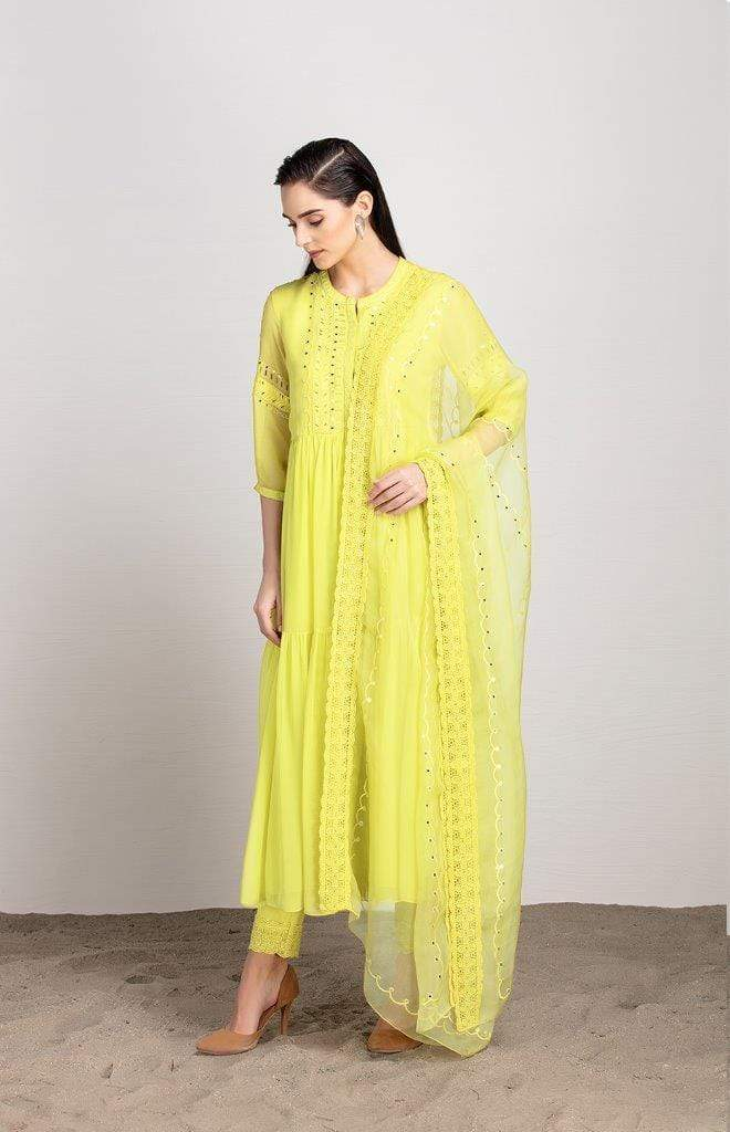 AMPM Anarkalis Adah yellow anarkali set