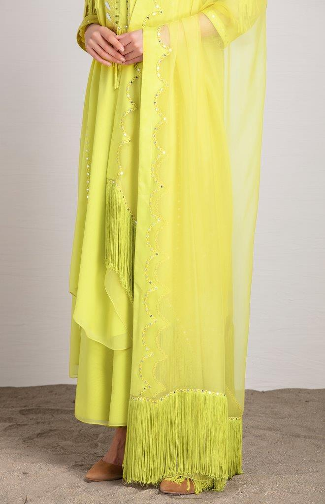 AMPM Kurtas Adah lime suit set in georgette