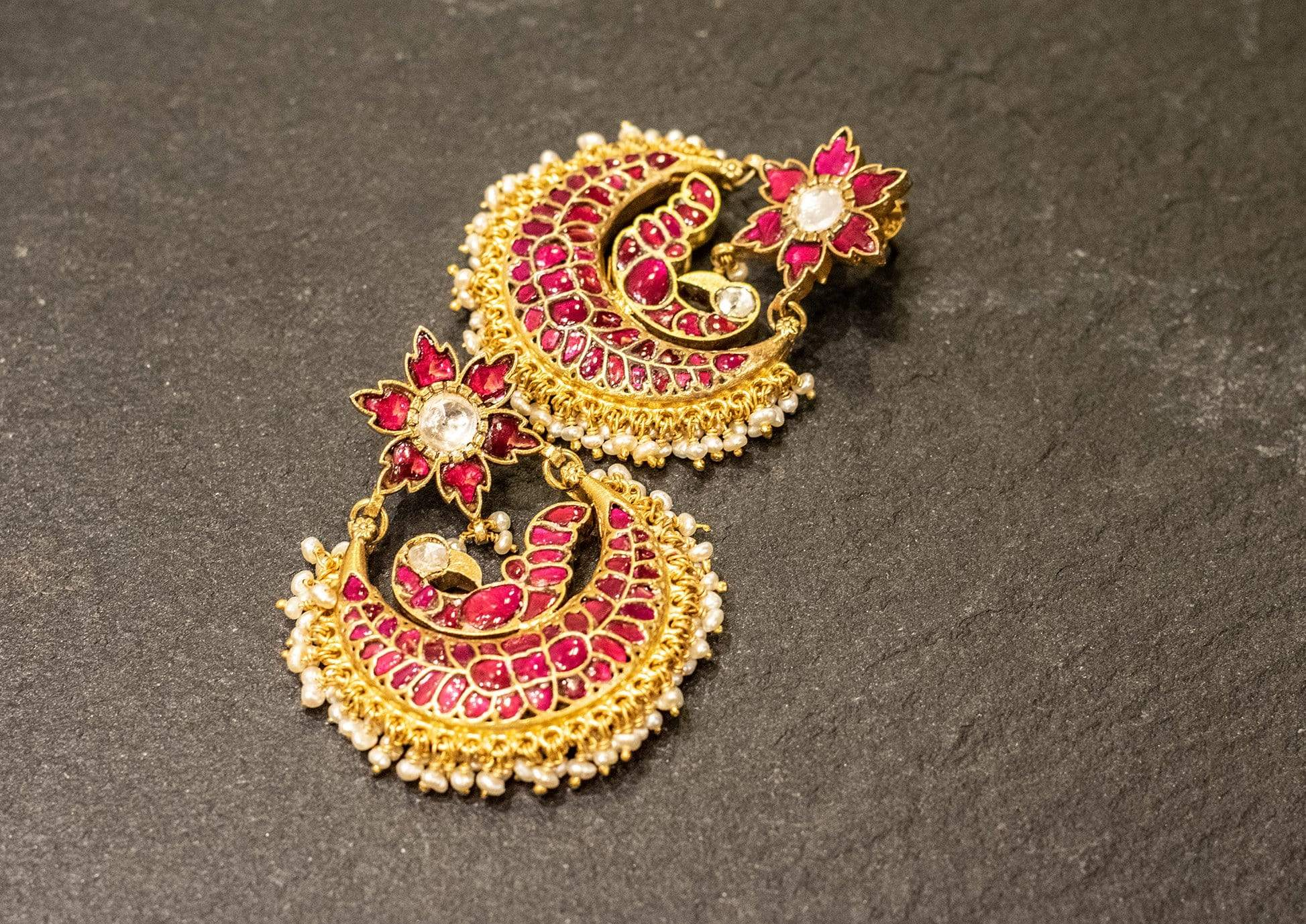 Amrapali Earrings Pink and gold silver gold plated earrings