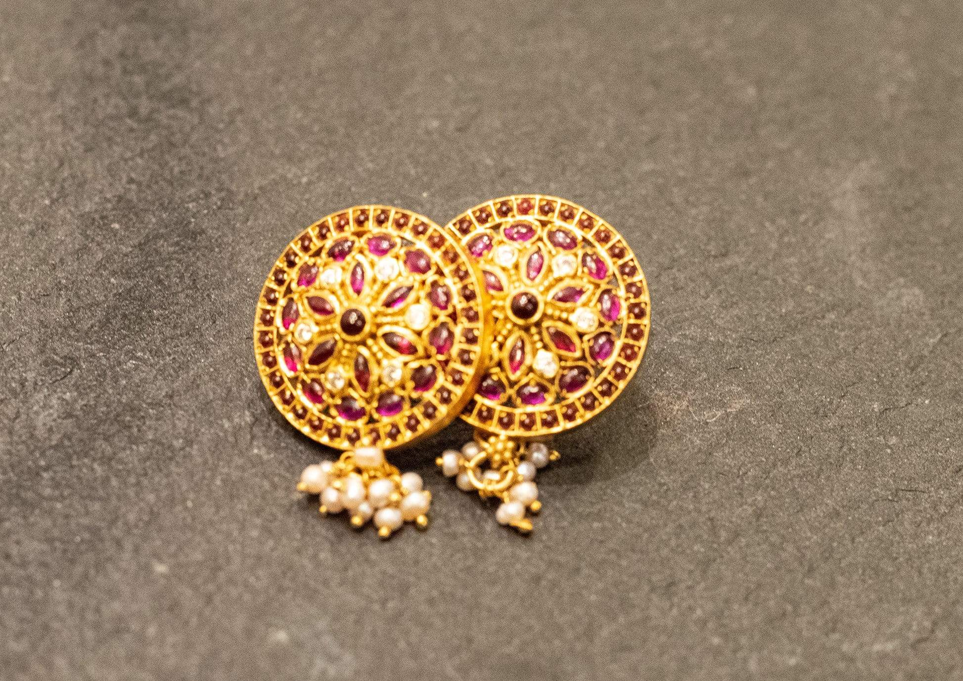 Amrapali Earrings Silver gold plated stone earrings