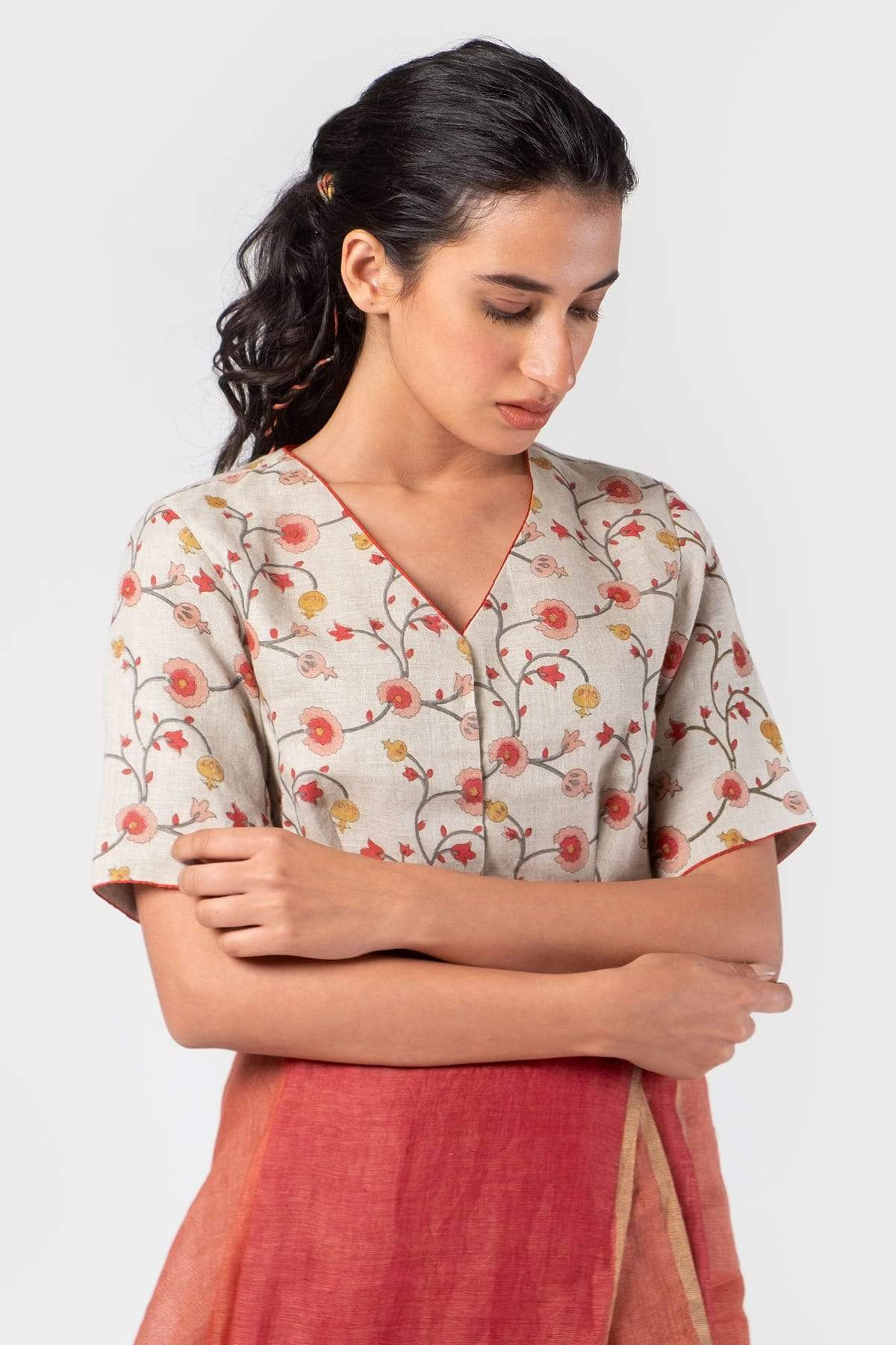 ANAVILA Blouses Pink floral summer blouse