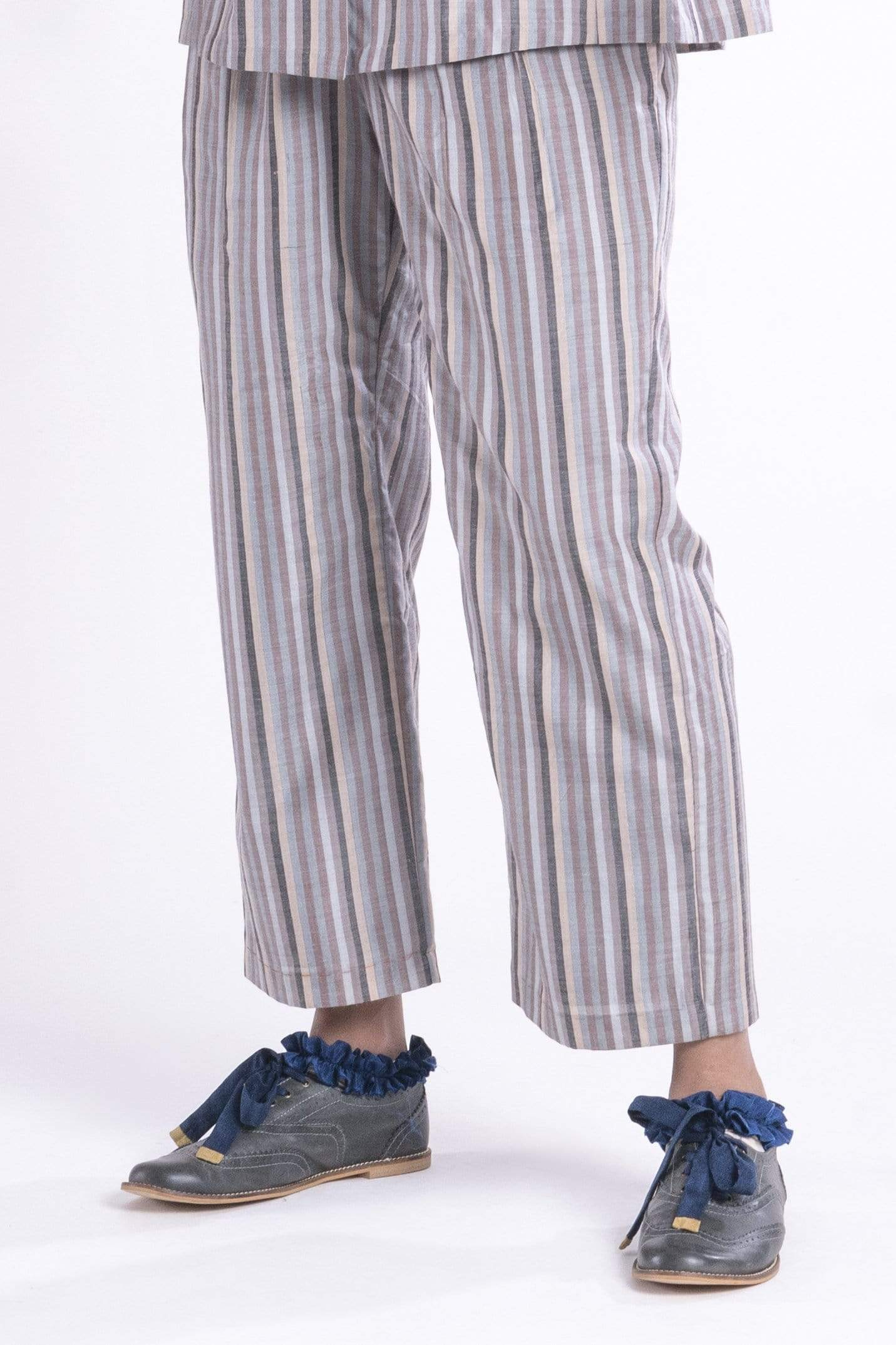 Anavila Bottoms Apricot striped trousers
