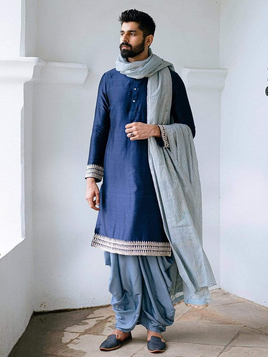 Anushree Reddy Mens Kurtas Dark blue kurta & pre-stitched dhoti set